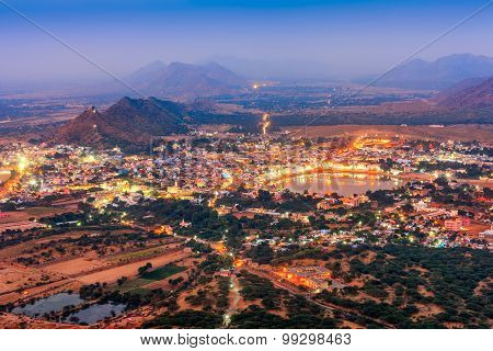 Pushkar Holy City In Anticipation Of The Night, Rajasthan, India
