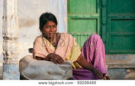 Pushkar, India - November 21: Young Smiling Indian Woman On The Street In Pushkar On November 21, 20