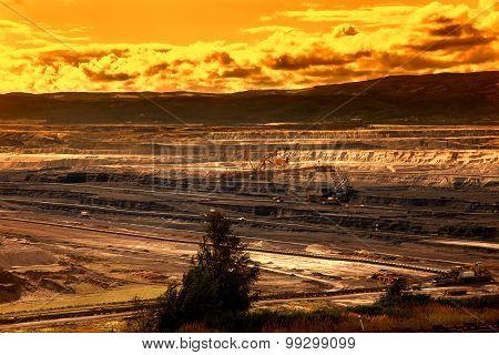 Coal mine,Most,Czech Republic, sunset sky