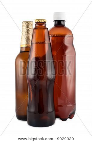 Beer In Bottles Close Up Isolated On White. Clipping Path.