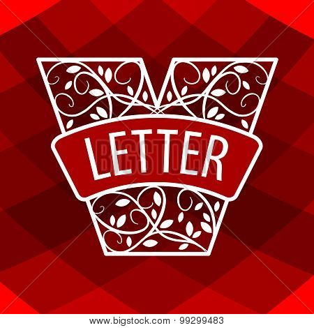Logo Letter V With A Vegetative Ornament On A Red Background