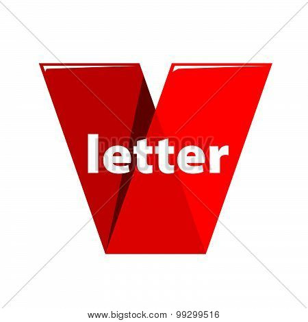 Vector Logo The Letter V In The Form Of Red Tape