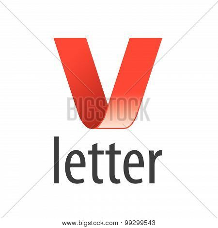 Vector Logo Red Ribbon In The Shape Of The Letter V