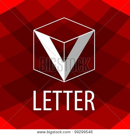 Vector Logo The Letter V In The Form Of A Cube