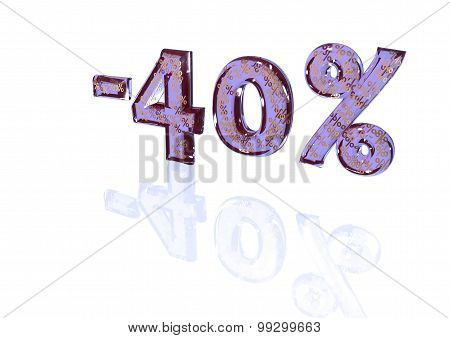 Inscription Minus 40 Percent With A Set Of Signs Of Percent In It