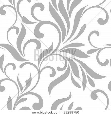 Seamless Pattern With Gray Swirls On A White Background