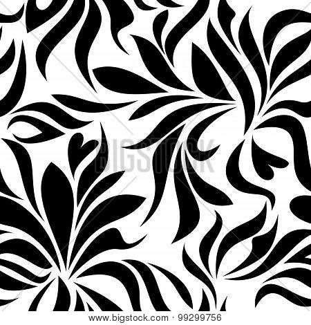 Seamless Pattern With Black Abstract Flowers On A White Background