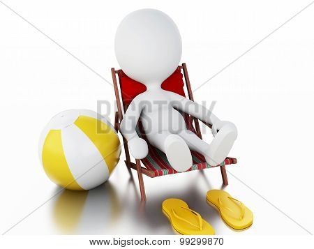 3D White People Relaxed On A Beach Chair. Summer Concept