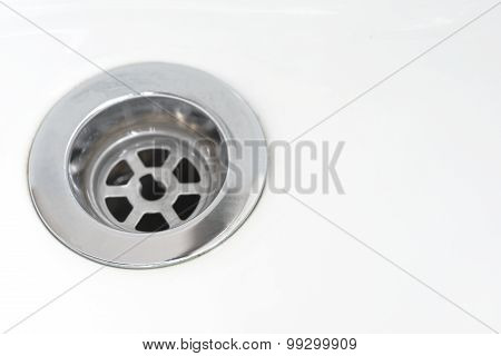 Closeup of stainless steel drain