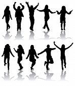 Постер, плакат: Силуэты Векторный танцы мужчин и женщин