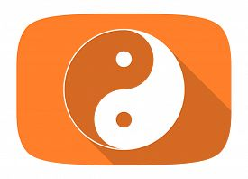 picture of yang  - ying yang flat design modern icon with long shadow for web and mobile app  - JPG