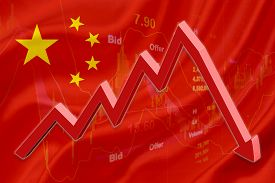 foto of panic  - Flag of China with a chart of financial instruments for stock market analysis and a red downtrend arrow indicates the stock market enter recession period - JPG