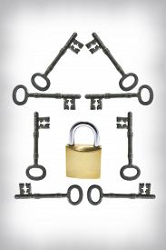 picture of skeleton key  - Padlock and Skeleton Keys Arranged in Shape of House - JPG