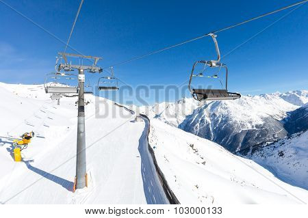Chair Lift And Ski Slope