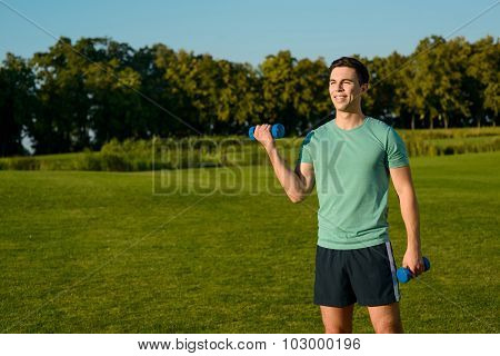 Guy engaged in sports outdoor.