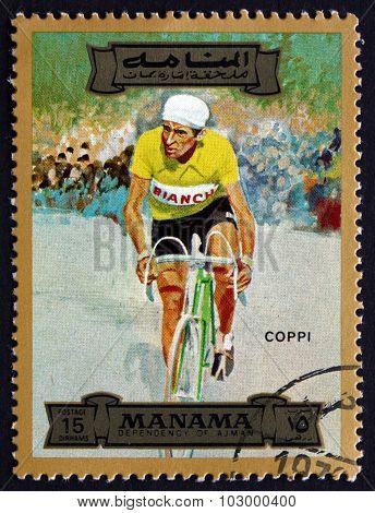 Postage Stamp Manama 1972 Fausto Coppi, Italian Cyclist