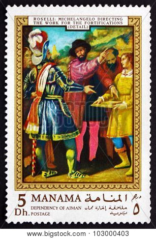 Postage Stamp Manama 1970 Michelangelo Directing The Work