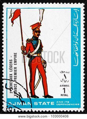 Postage Stamp Ajman 1972 Light Cavalry, France