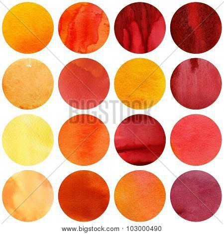 Watercolor autumn circles collection in yellow and red colors. Watercolor stains set isolated on white background. Watercolour palette. Seamless retro geometric pattern, wrapping paper.