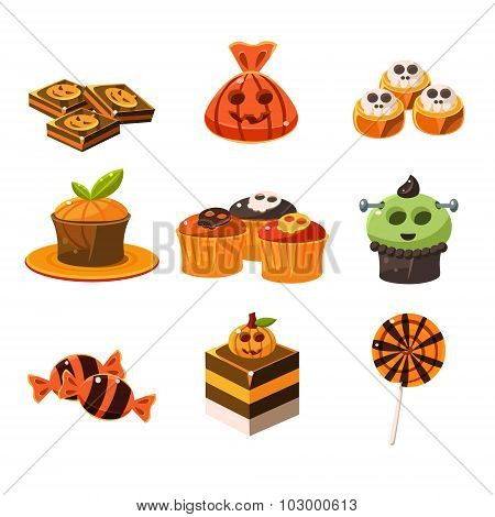 Colorful Halloween Sweets Vector Illustration