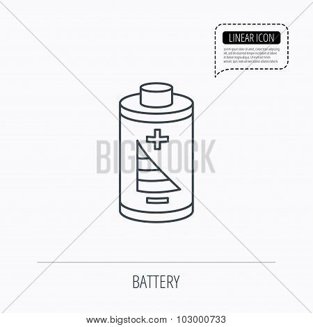 Battery icon. Electrical power sign.