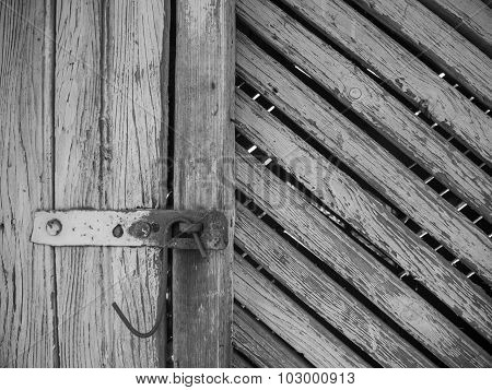 old barn rusted latch black and white