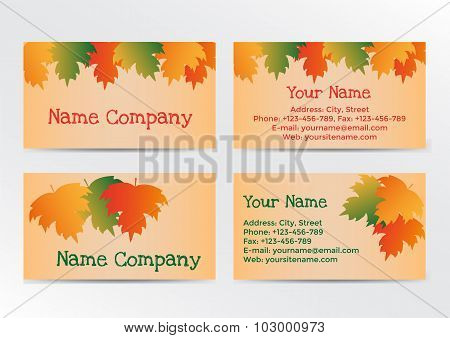 Autumn business cadrs with colorful leaves