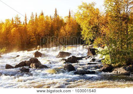 Waterfall Kivakkakoski.  Republic Of Karelia. Russia