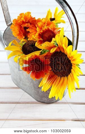 Beautiful flowers in watering can on wooden background