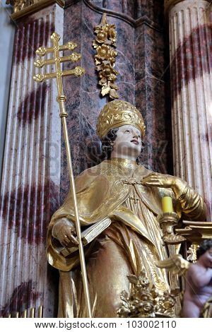 LEPOGLAVA, CROATIA - SEPTEMBER 21: Saint Albert the Great on the main altar of Holy Cross, parish Church of the Immaculate Conception of the Virgin Mary in Lepoglava, Croatia on September 21, 2014