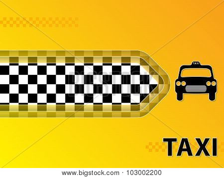 Taxi Advertising Background With Cab And Arrow