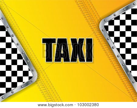 Abstract Taxi Advertising Background With Tire Tread And Metallic Elements
