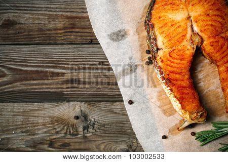 Salmon fillet grilled on cedar board