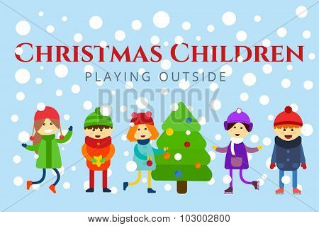 Winter holidays background. Christmas kids playing winter games. Skating, skiing, sledding, girl dresses up Christmas tree, boy makes a snow man, children playing snowballs. Cartoon New Year kids