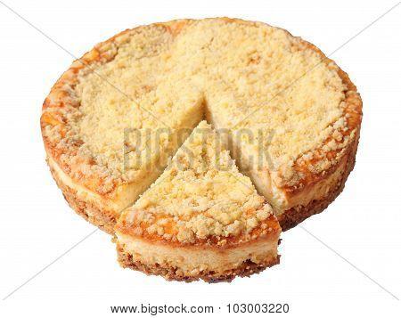 Curd Pie With Cut Piece