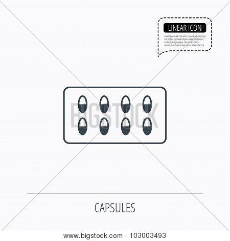 Medical capsules icon. Medicine drugs sign.