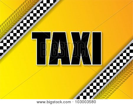 Taxi Company Advertising With Tire Tread And Metallic Elements