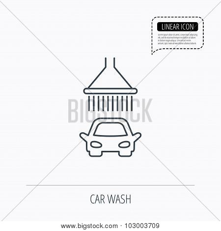 Car wash icon. Cleaning station with shower sign