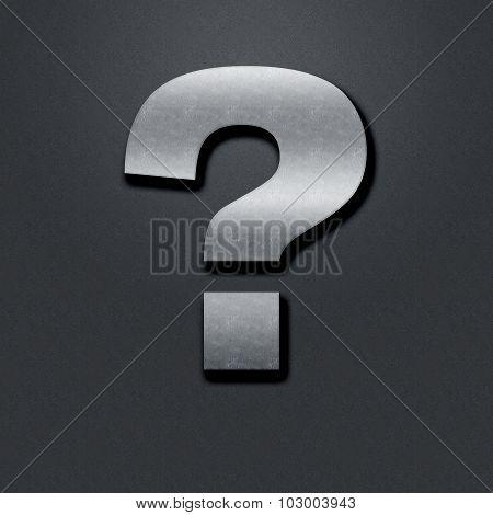 Question Mark Shabby Metal Chromium