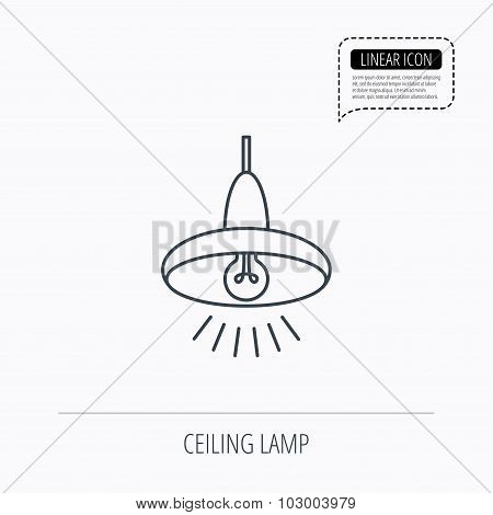 Ceiling lamp icon. Light illumination sign.