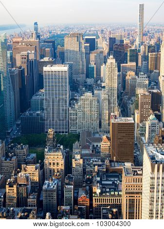 NEW YORK,USA - AUGUST 15,2015 : Aerial view of midtown New York City including the Rockefeller Center