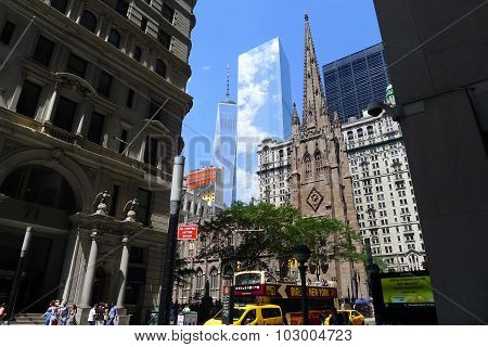 Trinity Church and World Trade Center
