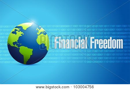 Financial Freedom International Globe Sign Concept