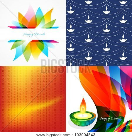 vector set of diwali holiday background with colorful diya, leaf illustration