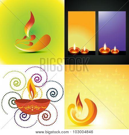 vector set of different types of diwali diya background  illustration