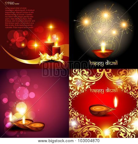 vector set of diwali background with diya, decorated candle, florals and fireworks