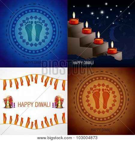 vector set of hindu festival diwali background with decorated diya placed on stair, crackers and footprint placed on rangoli illustration