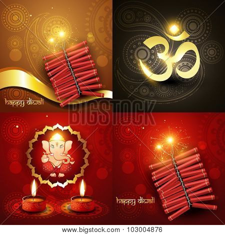 vector set of happy diwali background illustration with lord ganesha and fireworks
