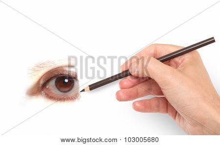 Hand drawing a human eye