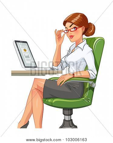 Business woman in armchair with laptop. Eps10 vector illustration. Isolated on white background